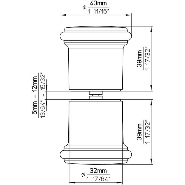 Duschkabinenknopf H216-43A49A3V1B